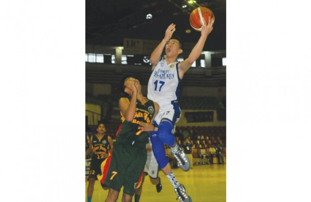 RP Team moves. Jed Colonia, a member of the Batang Gilas team that won the 2015 Southeast Asian Basketball Association leads SHS-Ateneo with 16 points to beat the USJ-R Baby Jaguars. Ateneo is currently on top of the standing with a 5-0 win-loss record.  (Sun.Star Foto/Arni Aclao)