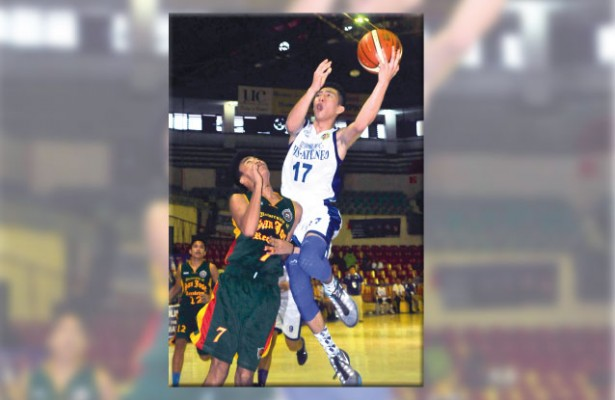 Top Eagle. Batang Gilas mainstay Jed Colonia (right) led the SHS-AdC Eagles with 21 points in their 15-point win over No. 2 team USC in the Cesafi high school basketball competition. (Sun.Star File)