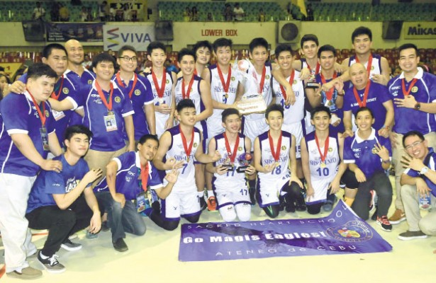 Three in a row. Members of the Sacred Heart School-Ateneo de Cebu celebrate after winning their third straight Cesafi basketball title. (Sun.Star Foto/Arni Aclao)